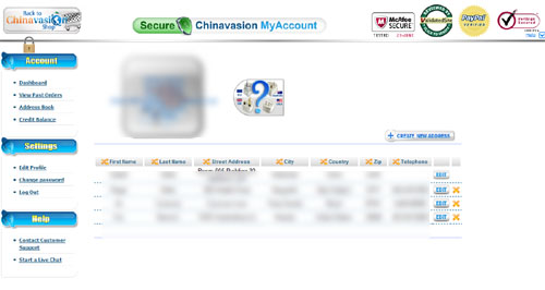 Chinavasion address book