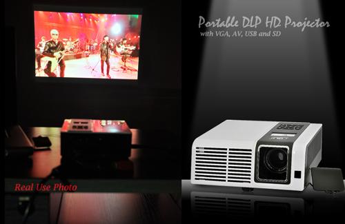 Portable DLP HD Projector with VGA, AV, USB and SD